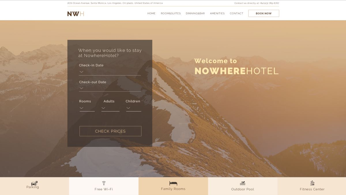 Hotel with Booking Form Photoshop Template Gallery Image 1