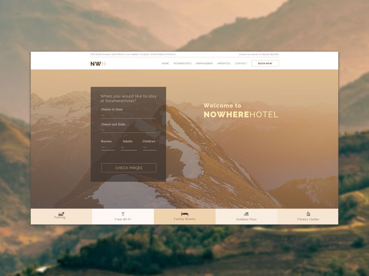 Hotel with Booking Form Photoshop Template Thumbnail