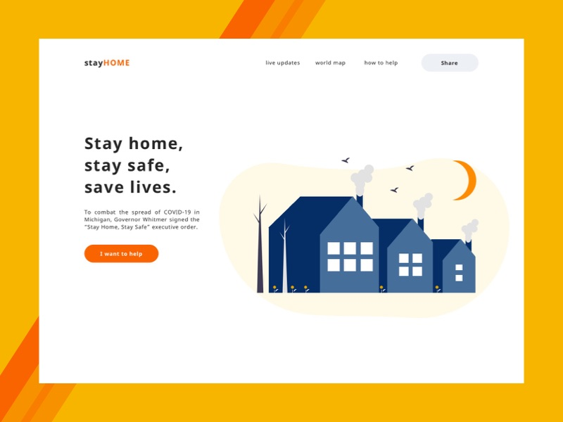 Stay Home, Stay Safe, Save Lives Landing Page Thumbnail